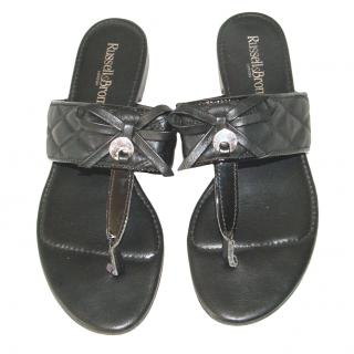 Russell & Bromley black quilted sandals, size 39