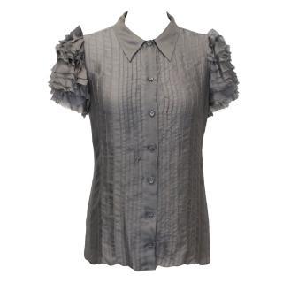 Prada Grey Silk Blouse with Ruffle Sleeves