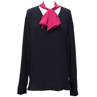 Pierre Balmain V Neck Navy Blouse with Hot Pink Scarf Strap