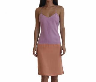 Tibi-Purple Colorblock V Neck Cami Dress