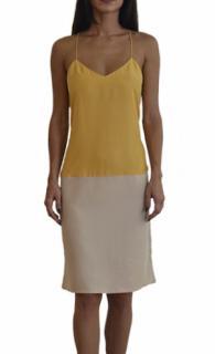 Tibi-Yellow Colorblock V Neck Cami Dress