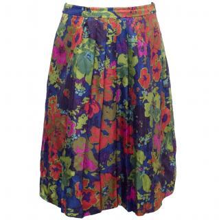 J. Crew Blue Floral Print Silk Skirt