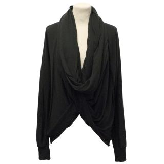 Donna Karan Black Cashmere and Silk Wrap Cardigan