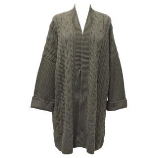 Loro Piana Grey Cashmere Cable Knit Long Cardigan
