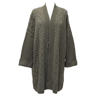 Loro Piana Grey Cashmere Cable Knit Long Cardigan