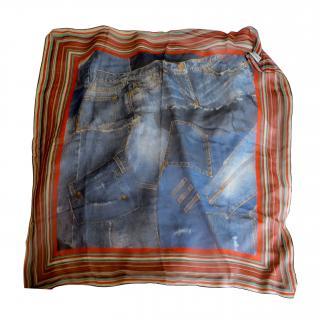 Dolce & Gabbana LTD edition denim print silk scarf