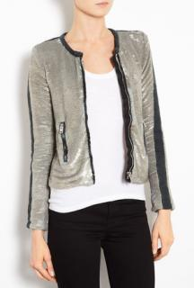 Iro Antique Gold Bush Panel Metallic Sequin Zip Jacket