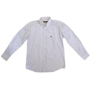 Etro Kids Blue and White Squares Printed Shirt