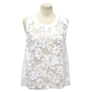 MSGM White Lace Tank Top