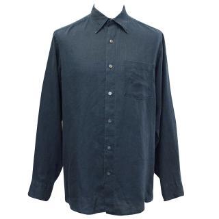 J. Crew Linen Dark Blue Twilight Shirt