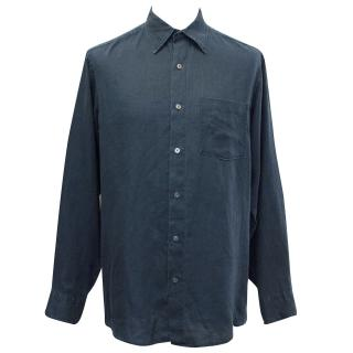J. Crew Linen Dark Blue Twilight Shirt