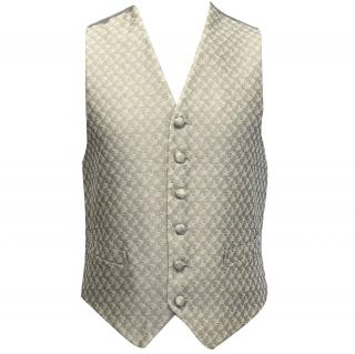 Ascot & Henley Silver Silk Floral Print Waistcoat