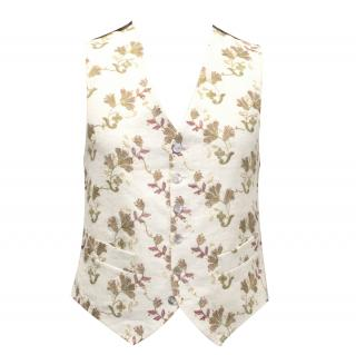 Favourbrook Brown and Cream Floral Waistcoat