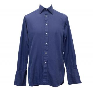 Pink Thomas Pink Deep Blue Cotton Shirt