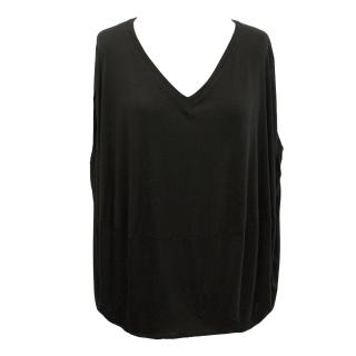 Hussein Chalayan Black V-Neck Top