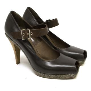 Marni Brown Leather and Tweed Peep Toe Pumps