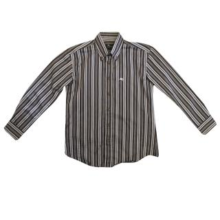 Etro Kids shirt in brown, blue and grey striped print.