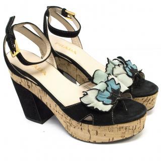 Prada Black Suede Platform Sandals with Turquois Floral Detail