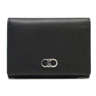 Salvatore Ferragamo Black Leather Card Coins Case
