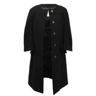 Celine Black Wool Cashmere Blend Coat