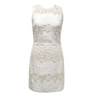 Dolce & Gabbana Cream Sleeveless Crochet Dress