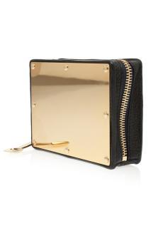 Sophie Hulme black leather & gold box clutch