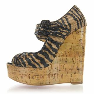 Christian Louboutin Melides 140 Panama Tiger and Cork Wedges