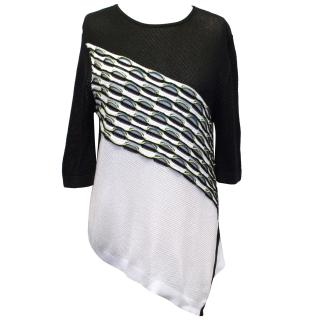 Peter Pilotto Black Green and White Cotton Knitted Jumper