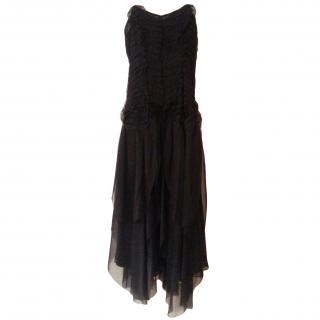 Nicole Farhi black silk evening dress