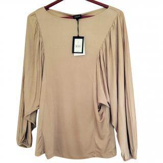 Jaeger Pure Silk Long Sleeve Bronze Batwing Top