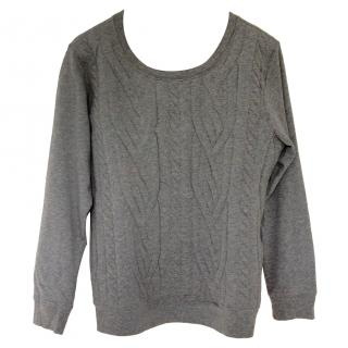 MM6 grey sweater with cable knit effect