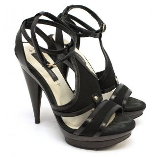 Gianfranco Ferre Black Open Toe Heels