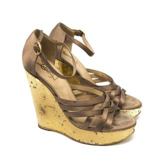 YSL Gold Wedge Sandals