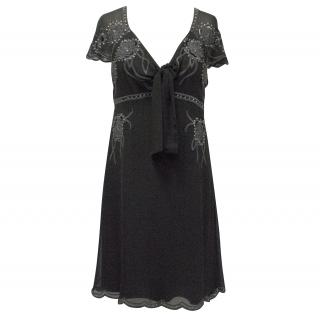 Temperley London Black Short Sleeved Silk Dress
