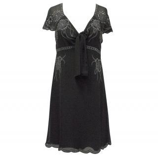 Temperley London Black Short Sleeved Silk Dress