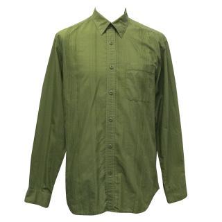 Tommy Bahama Combat Green Subtle Striped Cotton Shirt