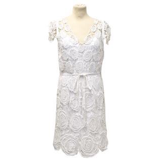 Diane Von Fursternberg White Crochet Dress