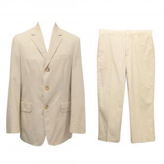 J Crew White and Cream Striped 2 Piece Suit