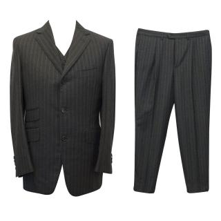 Dunhill Bespoke Charcoal Grey Pin Striped 3 Piece Suit