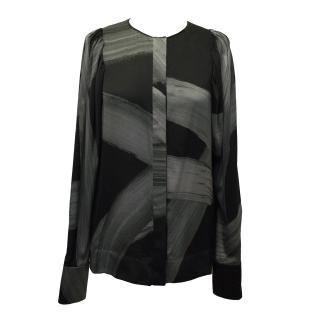 Stella McCartney Black and Grey Abstract Patterned Silk Blouse