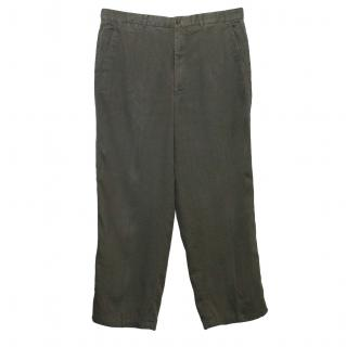 Armani Collezioni Grey Linen Trousers