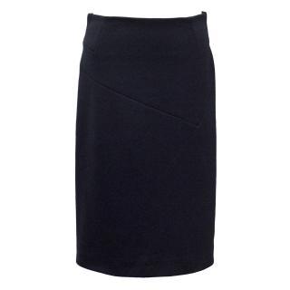 Yves Saint Laurent Navy Pencil Skirt