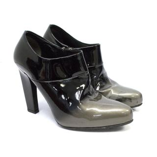 Prada Black Patent Ankle Boots With Gray Ombre Cap