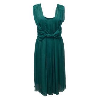 Alberta Ferretti Petrol Silk Dress