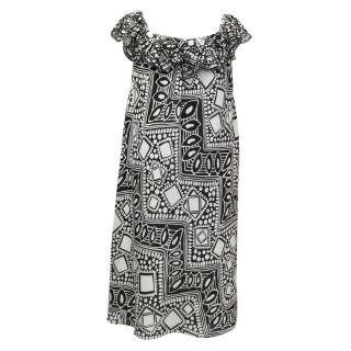 Tibi Black and White Tribal Print Dress