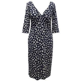Diane von Furstenberg Silk Dress with Navy Blue Print