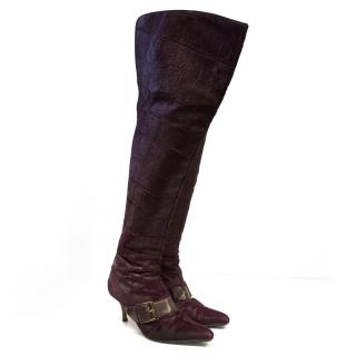 Manolo Blahnik Mulberry Purple Pony Hair Boots