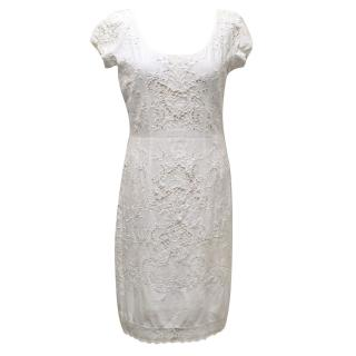 Jill Stuart White Cotton Dress with Eyelet Detailing