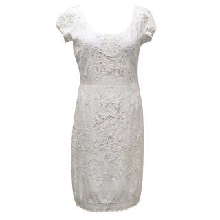 Jill Stuart White Cotton Dress with Eyelet Detailing