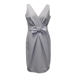 Moschino Cheap and Chic White and Dark Navy Pin Striped Dress